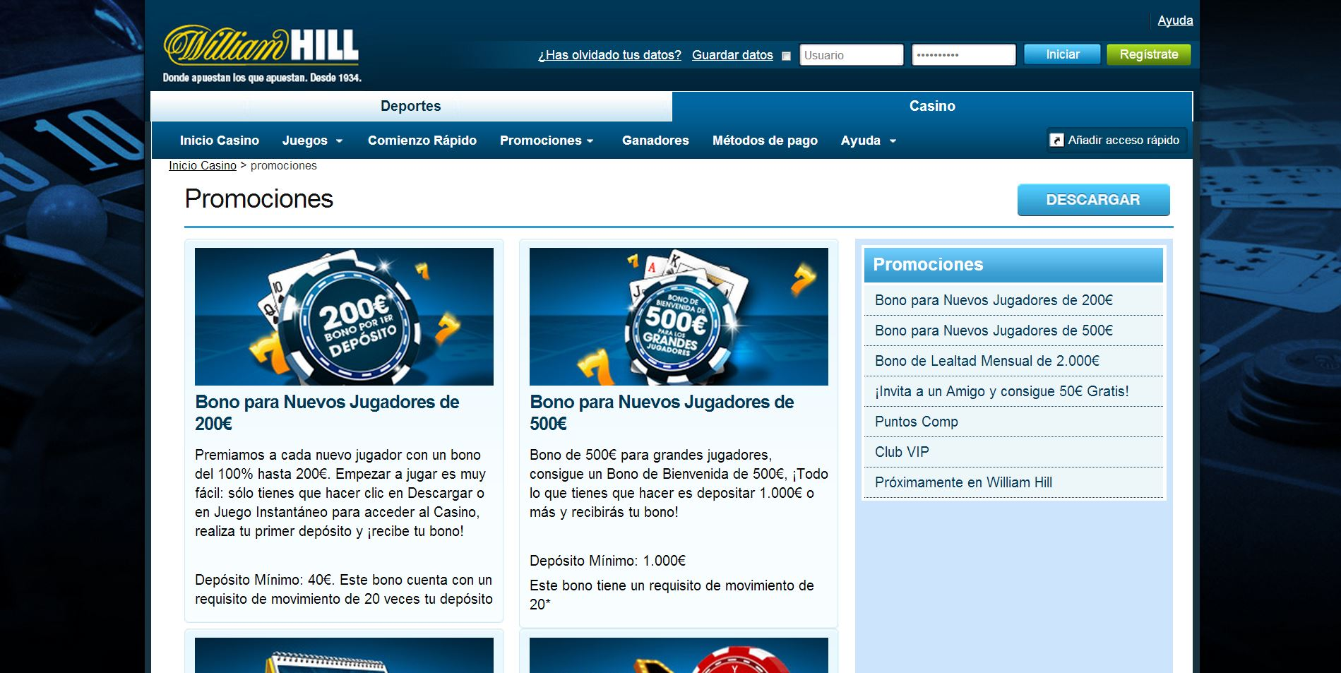 Juegos casino el celular william Hill es 149314
